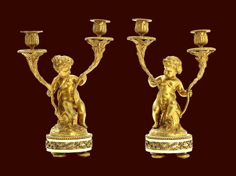 Empire kerzenleuchter in bronze vergoldet frankreich um